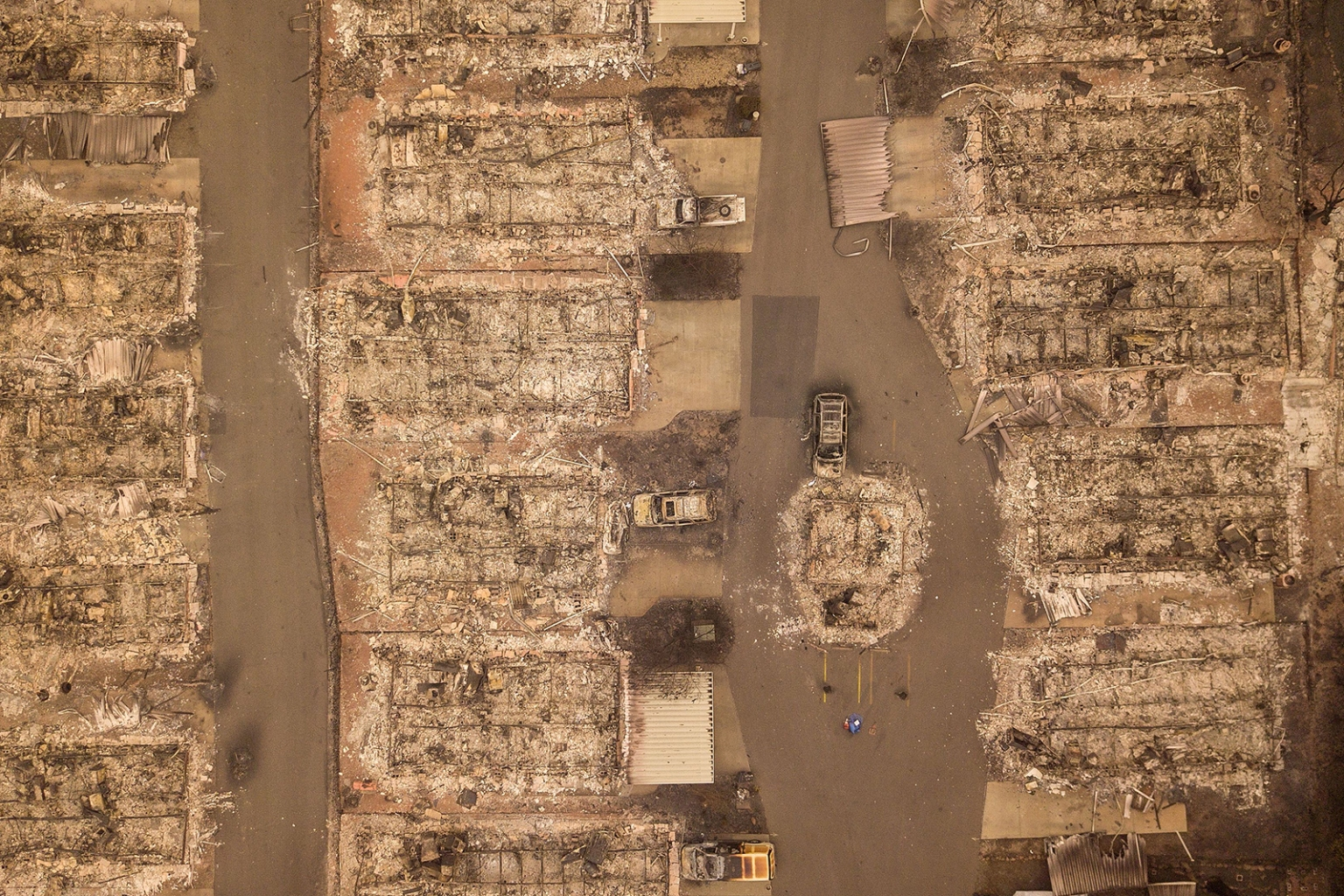 A neighborhood devastated by wildfires in Paradise, California, on Nov. 15. JOSH EDELSON/AFP/Getty Images