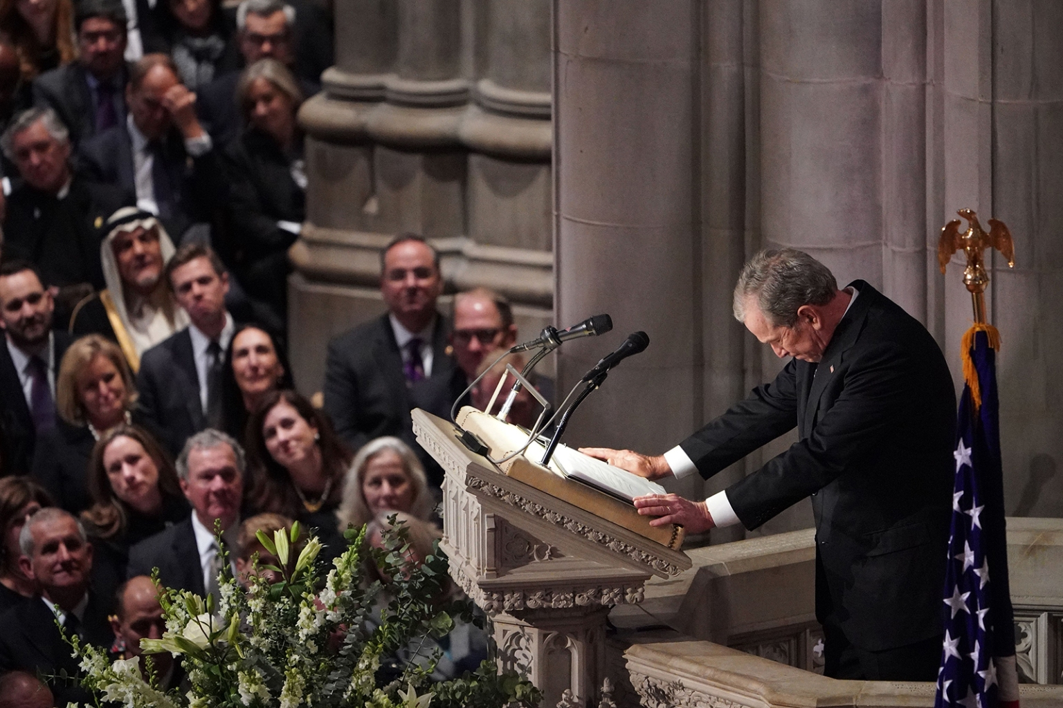 Former U.S. President George W. Bush speaks during the funeral service for former his father, former President George H.W. Bush, at the National Cathedral in Washington on Dec. 5. MANDEL NGAN/AFP/Getty Images