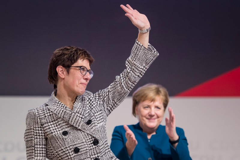 Annegret Kramp-Karrenbauer waves to delegates at a national conference of the CDU on Dec. 7, 2018 in Hamburg. (Thomas Lohnes/Getty Images)