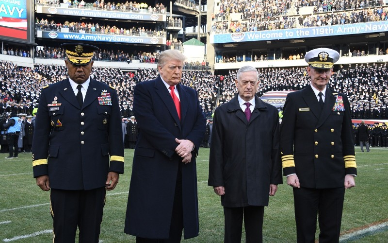 U.S. President Donald Trump and U.S. Secretary of Defense James Mattis attend the annual Army-Navy football game at Lincoln Financial Field in Philadelphia, Pennsylvania, Dec. 8. (Jim Watson/AFP/Getty Images)