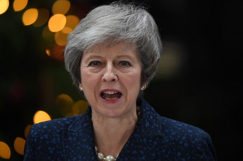 British Prime Minister Theresa May makes a statement in Downing Street on Dec 12 (Leon Neal/Getty Images)