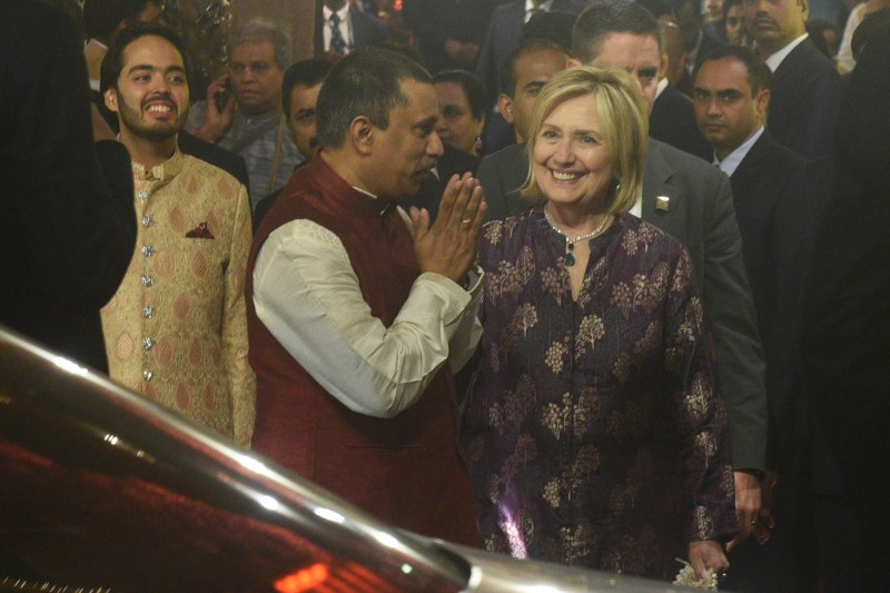 Hillary Clinton arrives to attend the wedding of Mukesh Ambani's daughter Isha Ambani and Anand Piramal at their residence in Mumbai, India, on Dec. 12. (Prodip Guha/Hindustan Times via Getty Images)