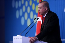 President of Turkey Recep Tayyip Erdogan addresses the press during the Argentina G20 Leaders' Summit 2018 on Dec. 1 in Buenos Aires. (Daniel Jayo/Getty Images)