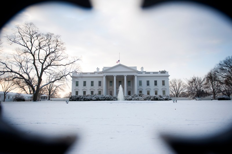 A blanket of snow covers the North Lawn of the White House in Washington, DC, January 12, 2011. (Photo credit: Jim Watson/AFP/Getty Images)