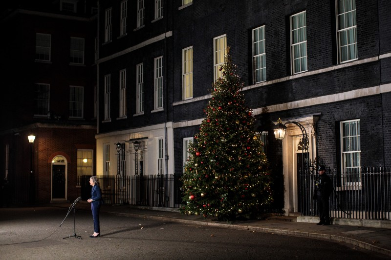 British Prime Minister Theresa May makes a statement outside Number 10 Downing Street on Dec. 12, 2018 in London, England. (Jack Taylor/Getty Images)