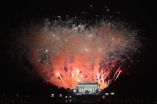Fireworks explode following an inauguration celebration for President-elect Donald Trump at the Lincoln Memorial on Jan. 19, 2017 in Washington, DC. (Scott Olson/Getty Images)