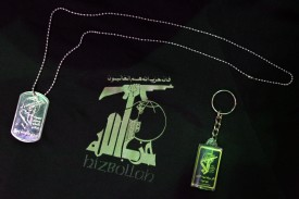 Hezbollah-themed merchandise for sale in São Paulo, Brazil, on July 28, 2006. (Mauricio Lima/AFP/Getty Images)