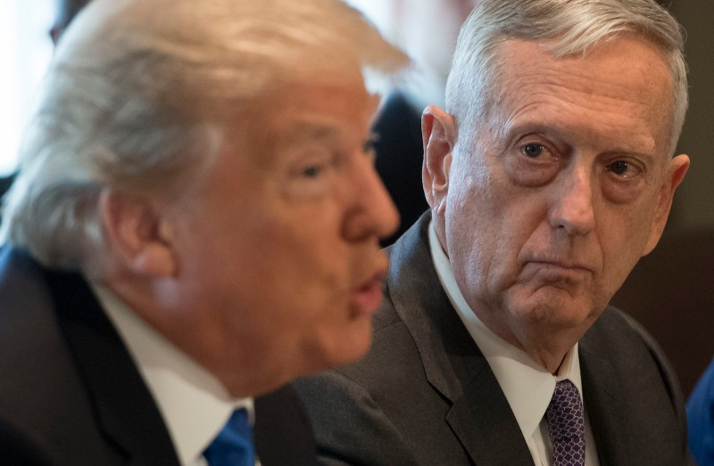 U.S. President Donald Trump speaks alongside Defense Secretary James Mattis during a cabinet meeting at the White House on Dec. 6, 2017. (SAUL LOEB/AFP/Getty Images)