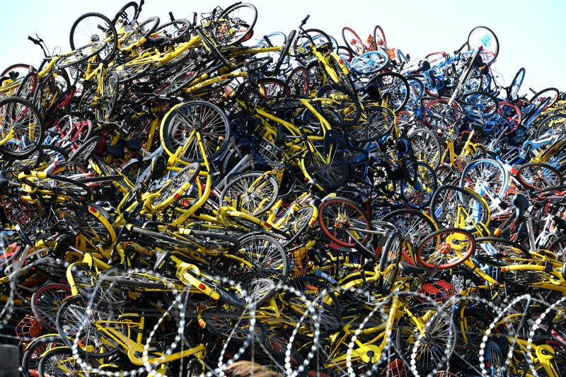 More than 100,000 shared bikes are piled up in an open space in Xiamen, China, on Jan. 13. (Wang Dongming/China News Service/VCG via Getty Images)