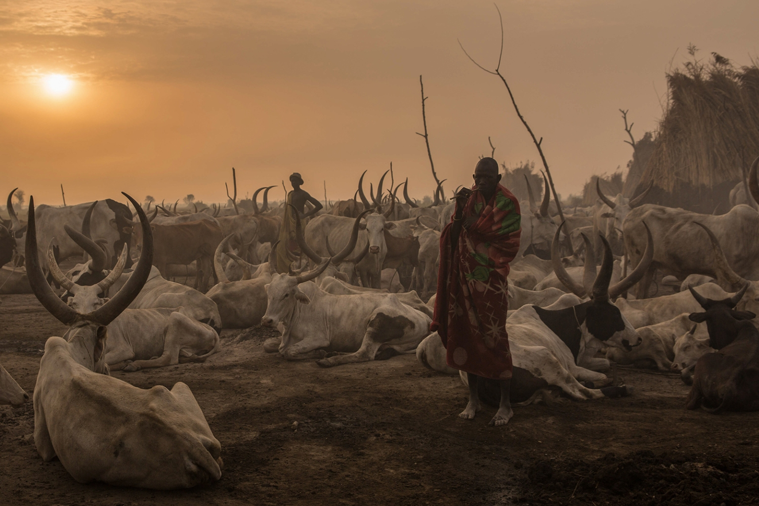 A Sudanese man from the Dinka tribe stands in the early morning at a cattle camp in Mingkaman, South Sudan, on March 3. STEFANIE GLINSKI/AFP/Getty Images