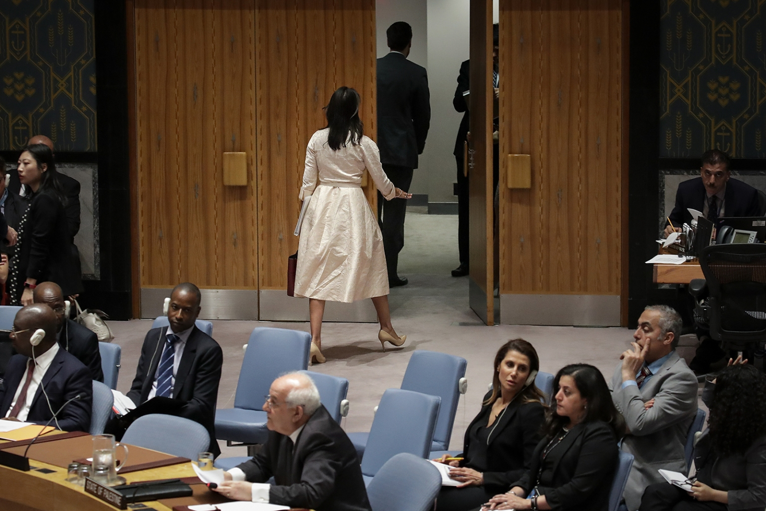 U.S. Ambassador to the United Nations Nikki Haley walks out of the chamber as Permanent Observer of Palestine to the U.N. Riyad Mansour begins to speak at a U.N. Security Council meeting on May 15 concerning the violence at the border of Israel and the Gaza Strip. DREW ANGERER/GETTY IMAGES