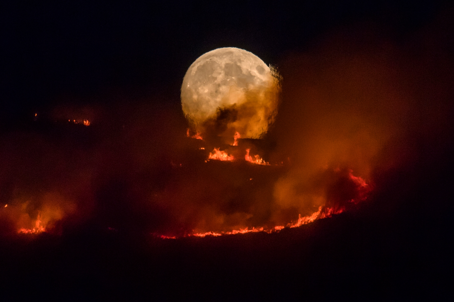 The full moon rises behind burning moorland as a large wildfire sweeps across the moors between Dovestones and Buckton Vale in Stalybridge, England, on June 26. ANTHONY DEVLIN/GETTY IMAGES
