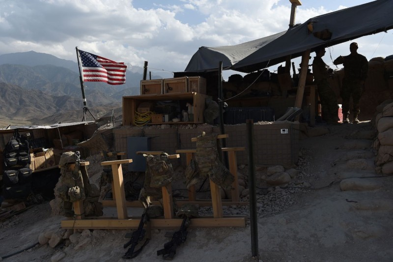 A U.S. flag flies at a checkpoint in the Deh Bala district in Nangarhar province, Afghanistan, on July 8. (Wakil Kohsar/AFP/Getty Images)
