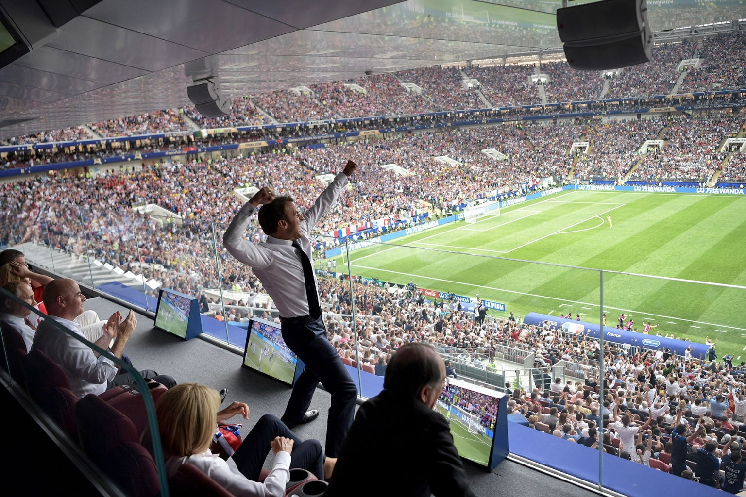 French President Emmanuel Macron reacts during the Russia 2018 World Cup final football match between France and Croatia at the Luzhniki Stadium in Moscow on July 15. ALEXEY NIKOLSKY/AFP/Getty Images