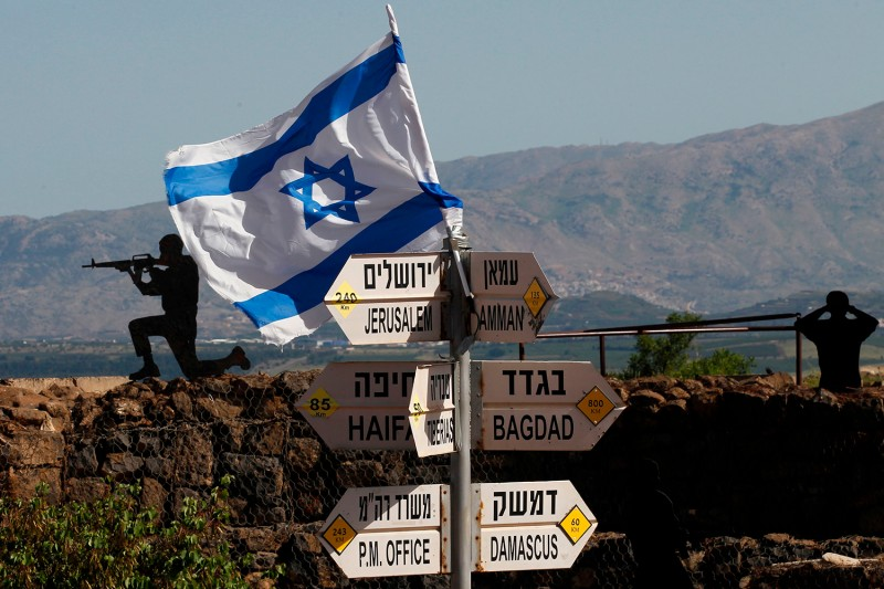An Israeli flag is seen placed on Mount Bental in the Israeli-annexed Golan Heights on May 10, 2018. (Jalaa Marey/AFP/Getty Images)