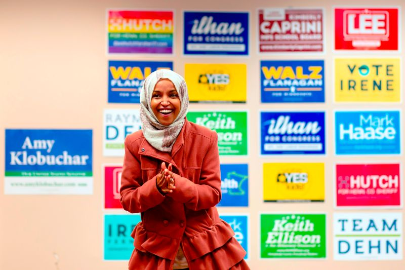 Congresswoman Ilhan Omar speaking to a group of volunteers in Minneapolis, Minnesota on Oct. 13, 2018. (Kerem Yucel/AFP/Getty Images)