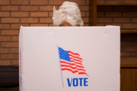 A woman casts her ballot in the voting booth at the Kent County Public Library in Chestertown, Maryland, on Oct. 25, in early voting ahead of the U.S. midterm elections. (Jim Watson/AFP/Getty Images)