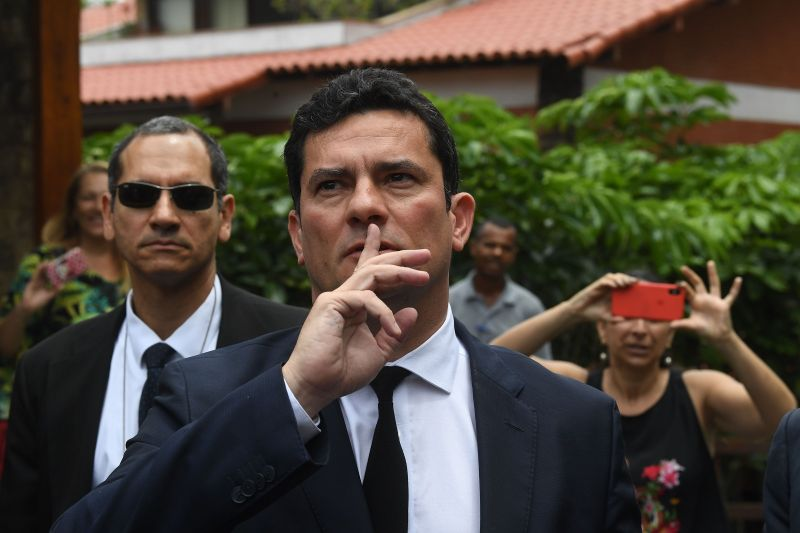 Brazilian Judge Sergio Moro gestures as he leaves the house of Brazilian President-elect Jair Bolsonaro after a meeting, in Rio de Janeiro, Brazil on November 1, 2018. (MAURO PIMENTEL/AFP/Getty Images)