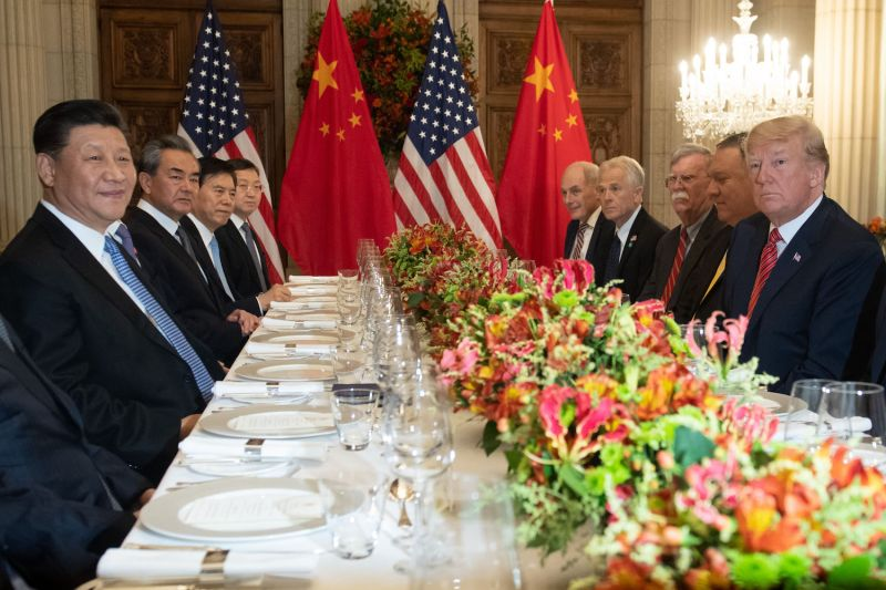 U.S. President Donald Trump, Chinese President Xi Jinping, and top officials reached a truce in the trade war over dinner at the G-20 summit in Buenos Aires on Dec. 1. (Saul Loeb/AFP/Getty Images)