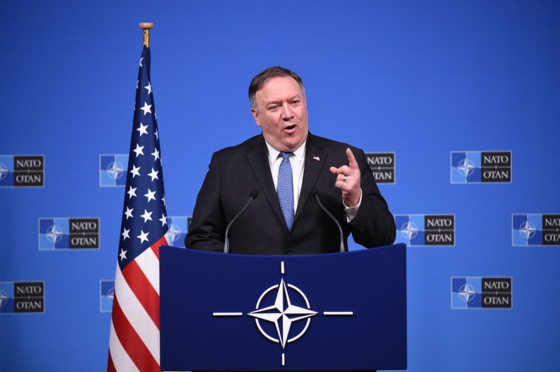 U.S. Secretary of State Mike Pompeo at a press conference after a NATO foreign ministers meeting in Brussels on Dec. 4. (John Thys/AFP/Getty Images)