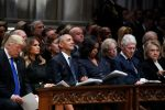 President Donald Trump, first lady Melania Trump, former President Barack Obama, former first lady Michelle Obama, former President Bill Clinton and former Secretary of State Hillary Clinton listen during a state funeral for former U.S. President George H. W. Bush at the Washington National Cathedral on Dec. 5, 2018 in Washington, DC. (Alex Brandon/Getty Images)