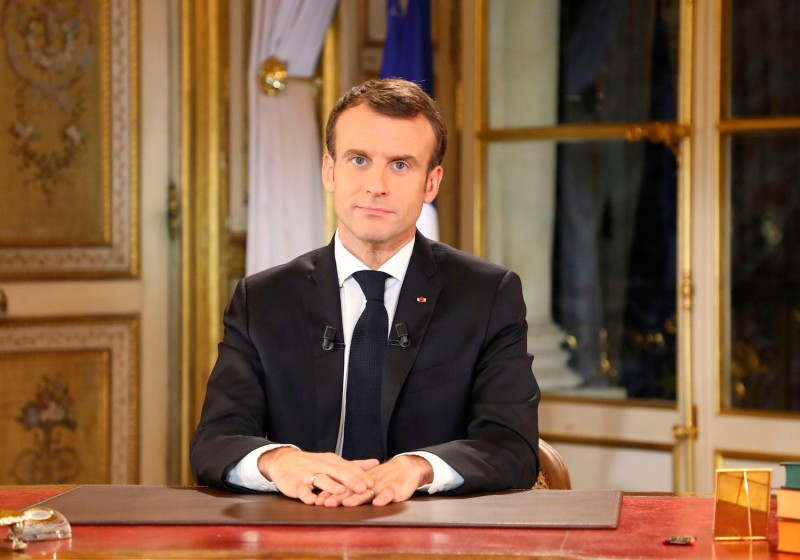 French President Emmanuel Macron speaks during a special address to the nation, his first public comments after four weeks of nationwide 'yellow vest' (gilet jaune) protests, on December 10, 2018 in Paris. (Ludovic Marin/AFP/Getty Images)