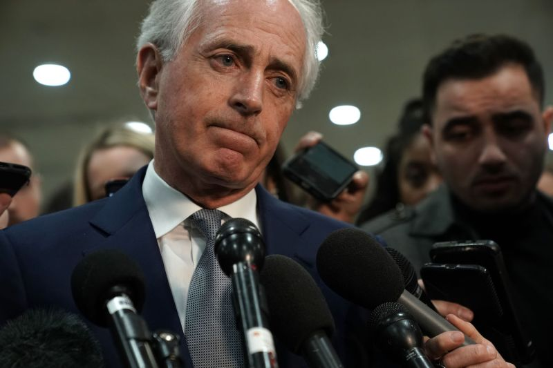 U.S. Sen. Bob Corker (R) speaks to press after a closed-door briefing by CIA Director Gina Haspel on the murder of journalist Jamal Khashoggi in Washington on Dec. 4. (Alex Wong/Getty Images)