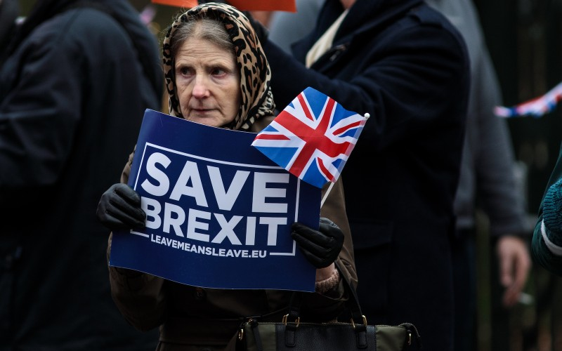 Pro Brexit protesters demonstrate with placards outside the Houses of Parliament, Westminster on December 10, 2018 in London, England. (Jack Taylor/Getty Images)