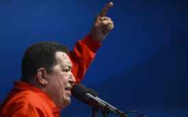 Venezuelan President Hugo Chavez addresses supporters during a campaign rally on August 3, 2012. (JUAN BARRETO/AFP/GettyImages)