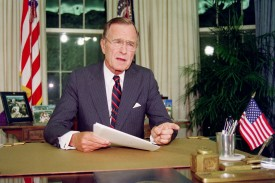 U.S. President George H.W. Bush in the White House on Sept. 27, 1991 (Luke Frazza/AFP/Getty Images)
