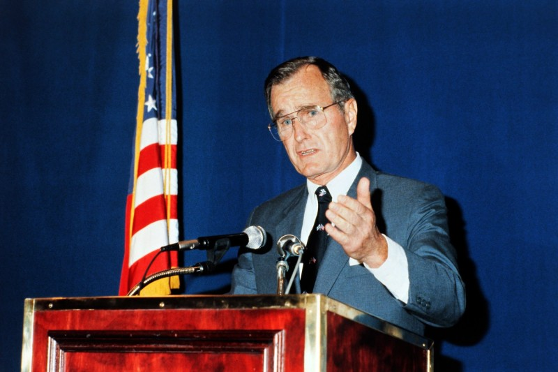 Vice President George H.W. Bush at a press conference on April 7, 1983 in Helsinski. (Stringer/AFP/Getty Images)