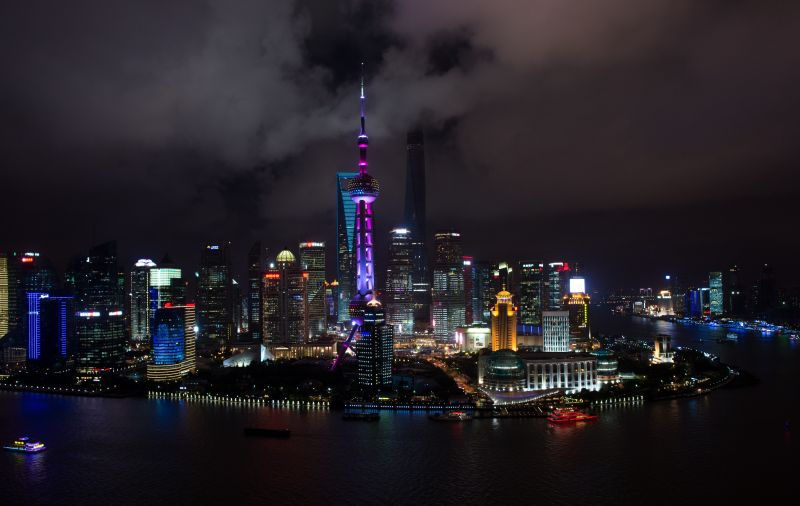 Clouds above the Shanghai skyline on July 31, 2014. (Johannes Eisele/AFP/Getty Images)