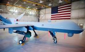 An MQ-9 Reaper drone is parked in a hanger at Creech Air Force Base in Indian Springs, Nevada, on Nov. 17, 2015. (Isaac Brekken/Getty Images)