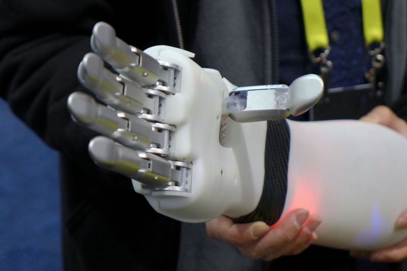 A prosthetic hand from BrainRobotics, which draws on machine learning, at the 2017 Consumer Electronic Show (CES) in Las Vegas, Nevada on Jan. 7, 2017.   (Sophie Estienne/AFP/Getty Images)