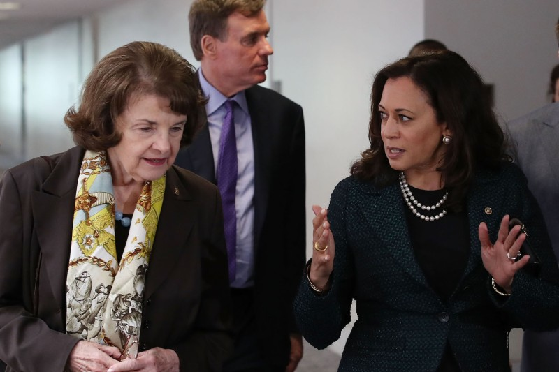 Sen. Dianne Feinstein (D-Calif.) walks with Sens. Kamala Harris (D-Calif.) and Mark Warner (D-Va.) to a Senate Select Committee on Intelligence closed-door meeting at the U.S. Capitol in Washington on April 27, 2017.  (Mark Wilson/Getty Images)