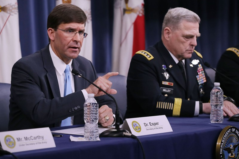 U.S. Army Secretary Mark Esper and Army Chief of Staff Mark Milley participate in a news conference at the Pentagon inArlington, Virginia, on July 13. (Chip Somodevilla/Getty Images)