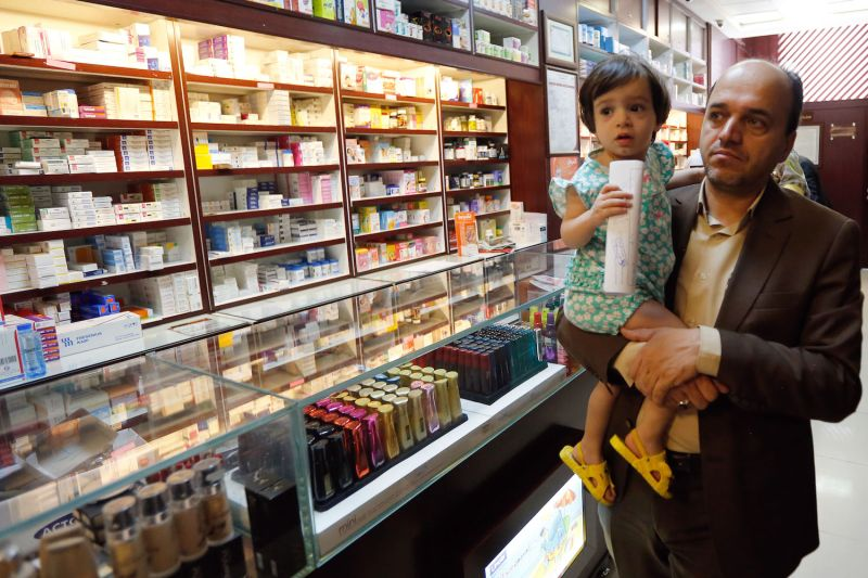 An Iranian man shops at a drugstore at the Nikan hospital in Tehran on September 11, 2018.