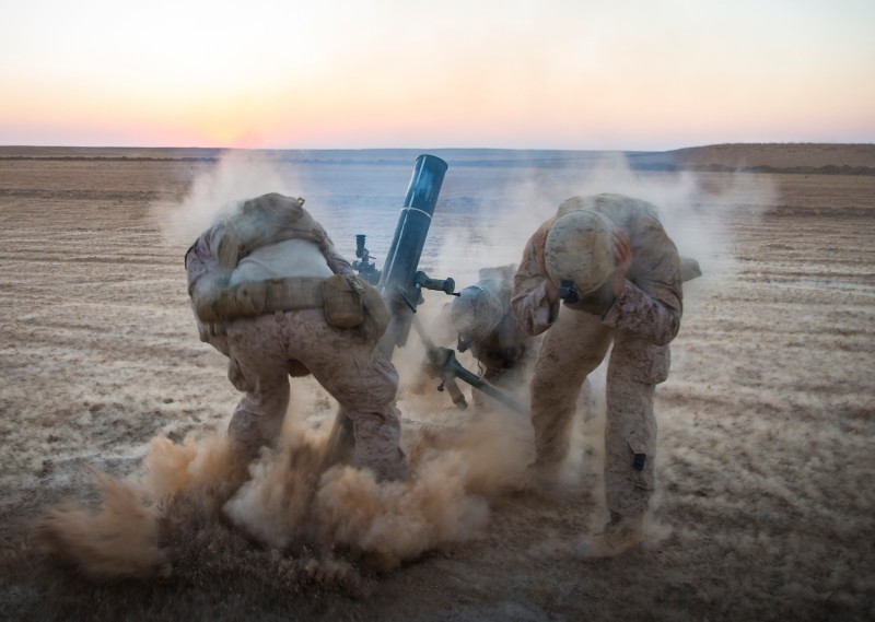 U.S. Marines fire mortars in support of anti-Islamic State operations in Syria on Sept. 10, 2018. (U.S. Marine Corps photo by Cpl. Gabino Perez)