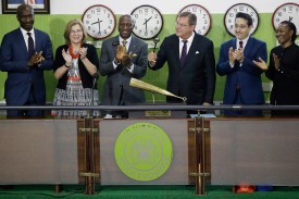 U.S. Consul General F. John Bray (third from right) takes part in the closing gong ceremony at the Nigeria Stock Exchange in Lagos on Jan. 29, 2018. (Sunday Alamba/AP)