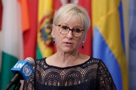 Swedish Foreign Minister Margot Wallstrom speaks before the U.N. Security Council meeting on understanding and addressing climate-related security risks in New York on July 11, 2018. (Luiz Rampelotto/Sipa via AP)