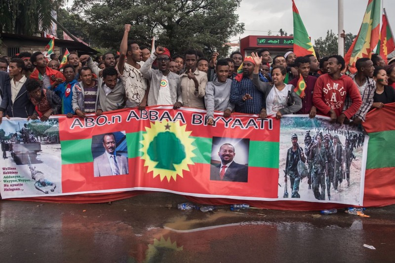 People gather to celebrate the return of the formerly banned anti-government group the Oromo Liberation Front at Mesquel Square in the Ethiopian capital, Addis Ababa, on Sept. 15, 2018.