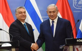 Hungarian Prime Minister Viktor Orban (left) and Israeli Prime Minister Benjamin Netanyahu shake hands after making a joint statement in Jerusalem on July 19, 2018. (Debbie Hill/AFP/Getty Images)
