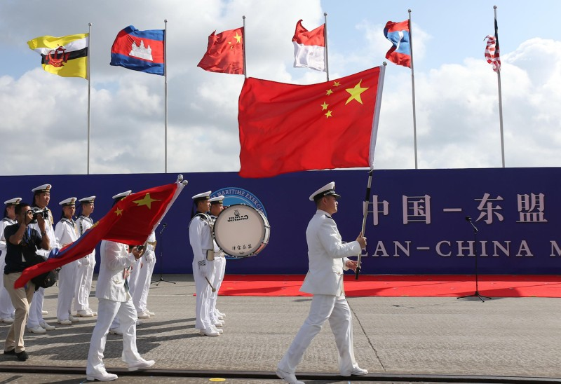 Chinese sailors march during the opening ceremony of the ASEAN-China Maritime Exercise at a military port in Zhanjiang, in China's southern Guangdong province on Oct. 22, 2018. (STR/AFP/Getty Images)