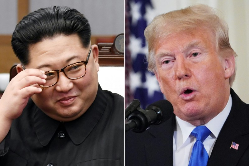 North Korea's leader Kim Jong Un, left, during the Inter-Korean summit in Panmunjom, North Korea, on April 27, 2018, and U.S. President Donald Trump during a post-election press conference in the White House in Washington on Nov. 7, 2018. (Pool; Mandel Nagan/AFP/Getty Images)