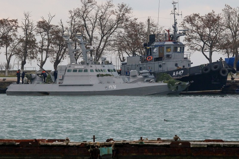 Seized Ukrainian military vessels are seen in a port of Kerch, Crimea, on November 26, 2018.(STR/AFP/Getty Images)
