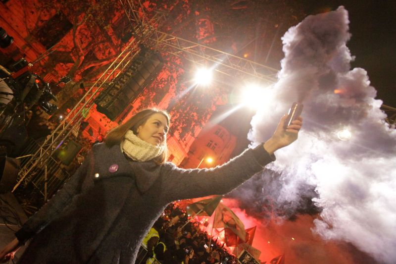 Vice-chairman of the Momentum party Anna Donath at a protest in downtown Budapest on Dec. 16, 2018. (Peter Kohalmi/AFP/Getty Images)