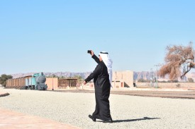 A man visiting the Hejaz train station near al-Ula, Saudi Arabia, on Jan. 4. (Fayez Nureldine/AFP/Getty Images)