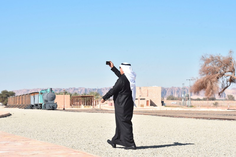 A man visiting the Hejaz train station near al-Ula, Saudi Arabia, on Jan. 4. (Fayez Nureldine/AFP/Getty Images)
