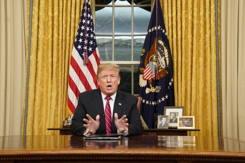 U.S. President Donald Trump speaks to the nation in his first-prime address from the Oval Office of the White House on January 8, 2019 in Washington, DC. (Photo by Carlos Barria-Pool/Getty Images)