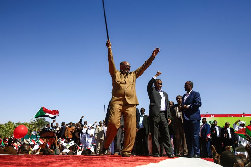 President Omar al-Bashir appears at a rally with his supporters in Khartoum on Jan. 9, 2019. (Ashraf Shazly/AFP/Getty Images)